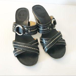 Frye Stitched Crisscross Harness Sandal